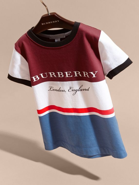 Multi Stripe Cotton T-shirt in Claret - cell image 2