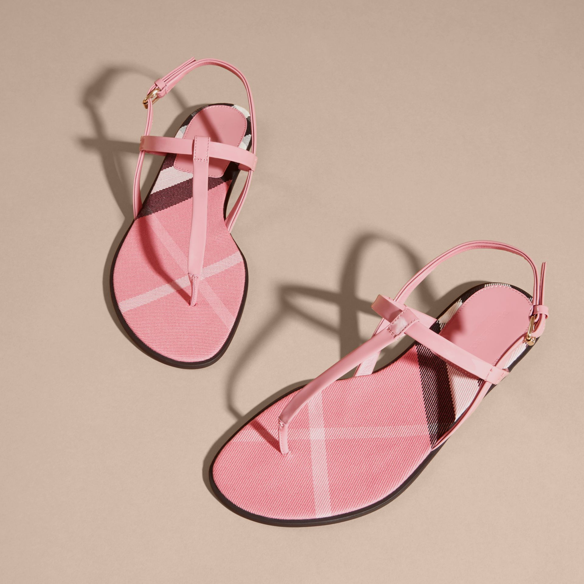House Check-lined Leather Sandals Berry Pink - gallery image 3