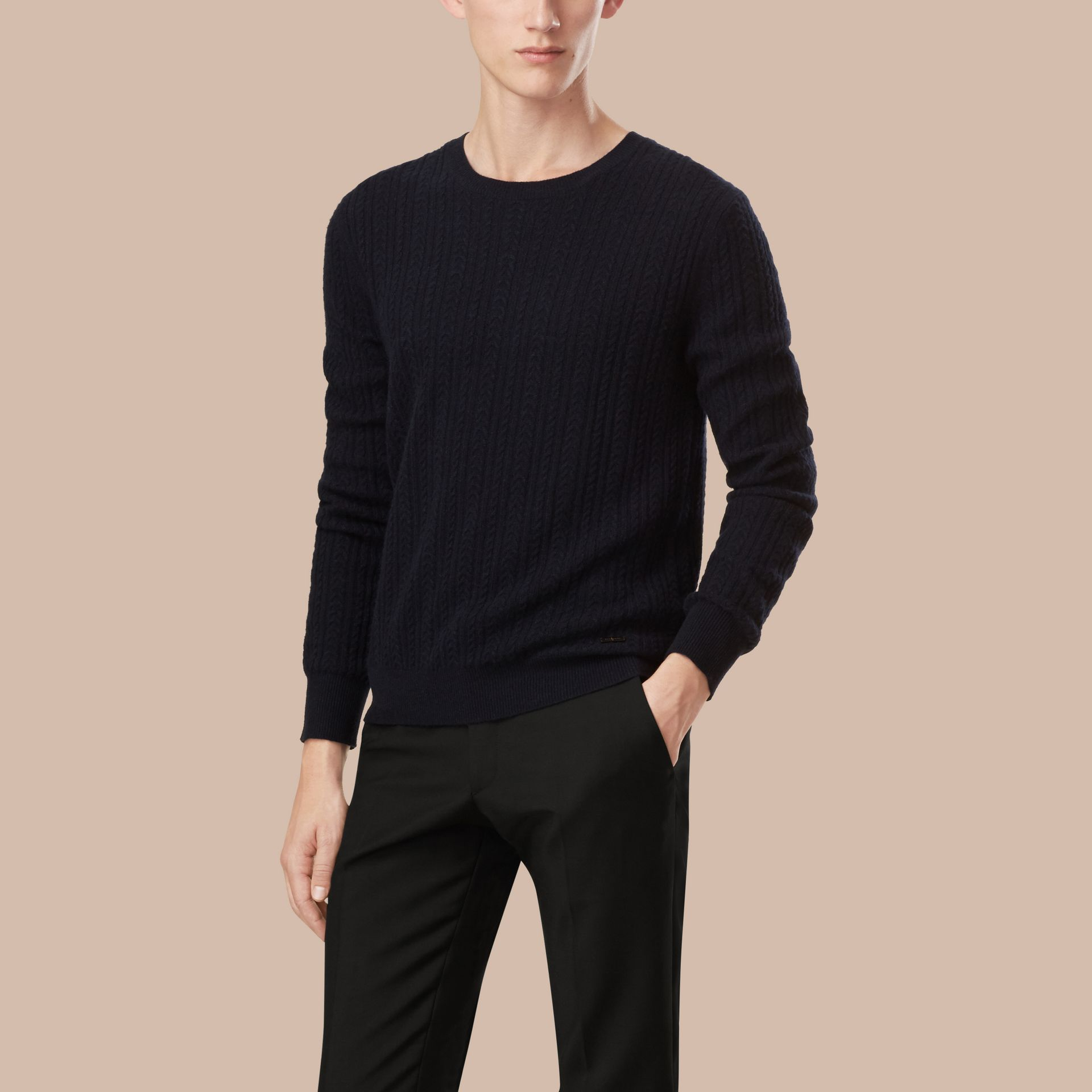Navy Aran Knit Cashmere Sweater Navy - gallery image 3
