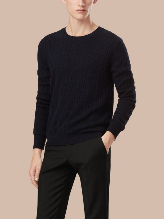 Navy Aran Knit Cashmere Sweater Navy - cell image 2
