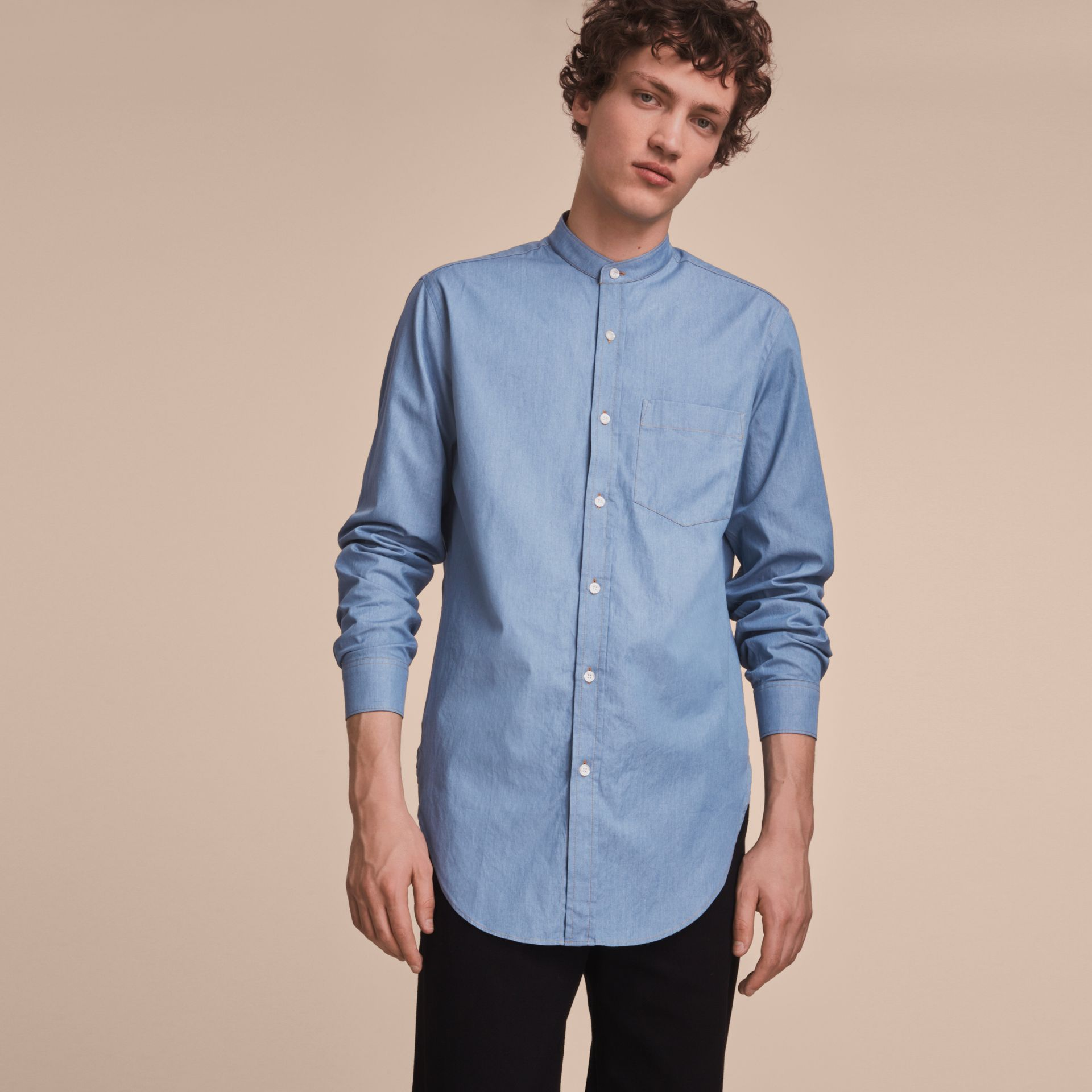 Grandad Collar Denim Shirt - gallery image 6