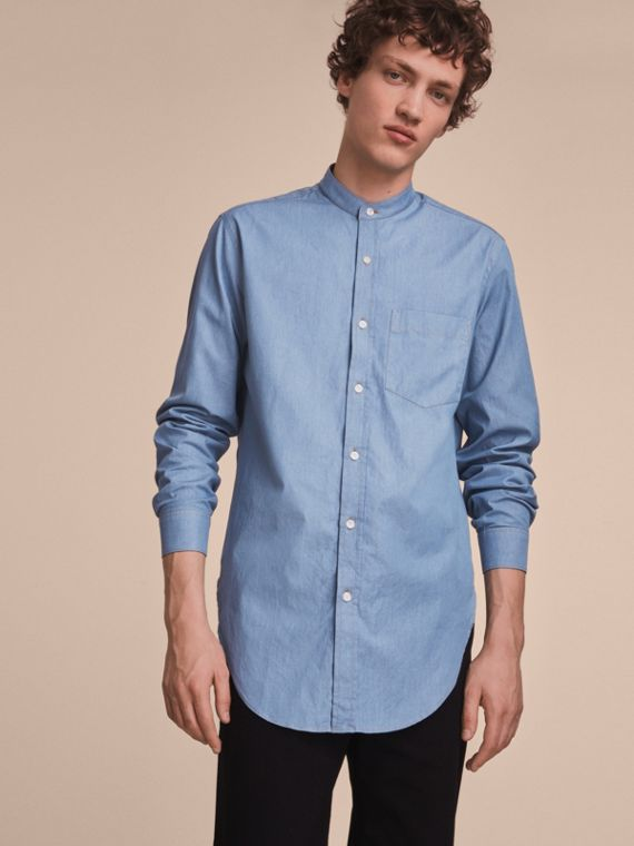 Grandad Collar Denim Shirt