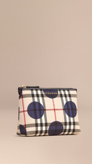 Pochette medium à motif check et pois bordée de cuir