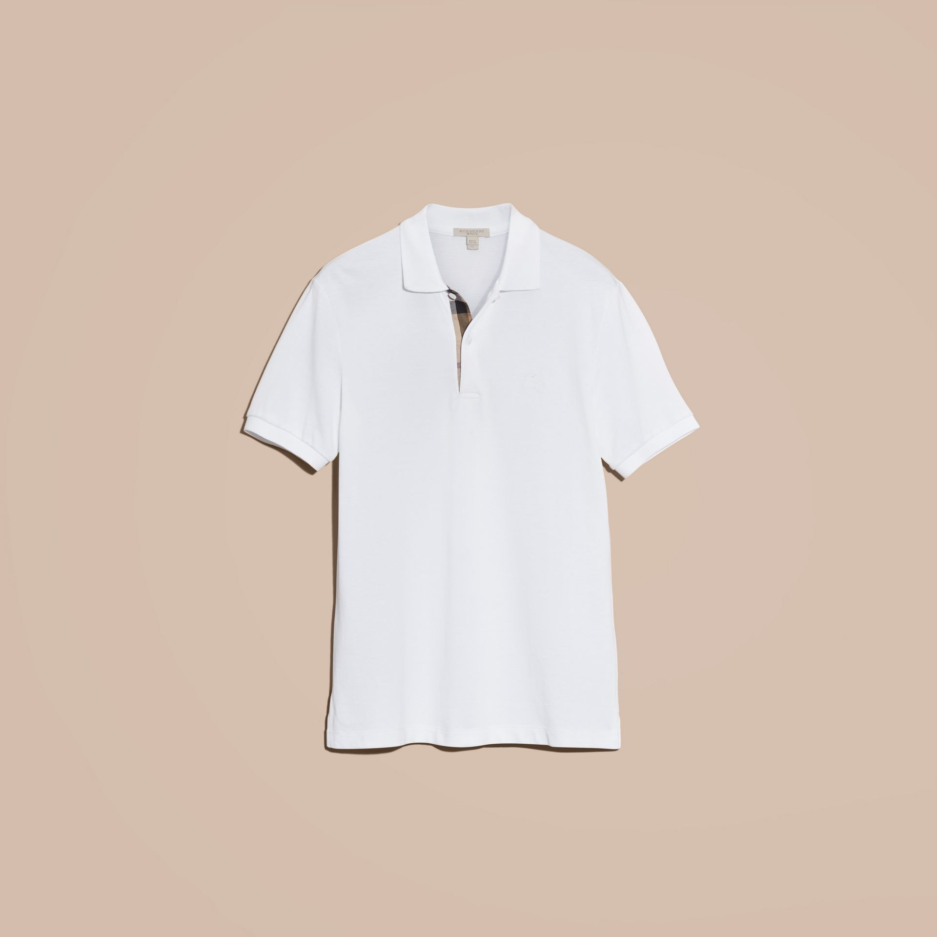 Check Placket Cotton Piqué Polo Shirt in White - gallery image 4