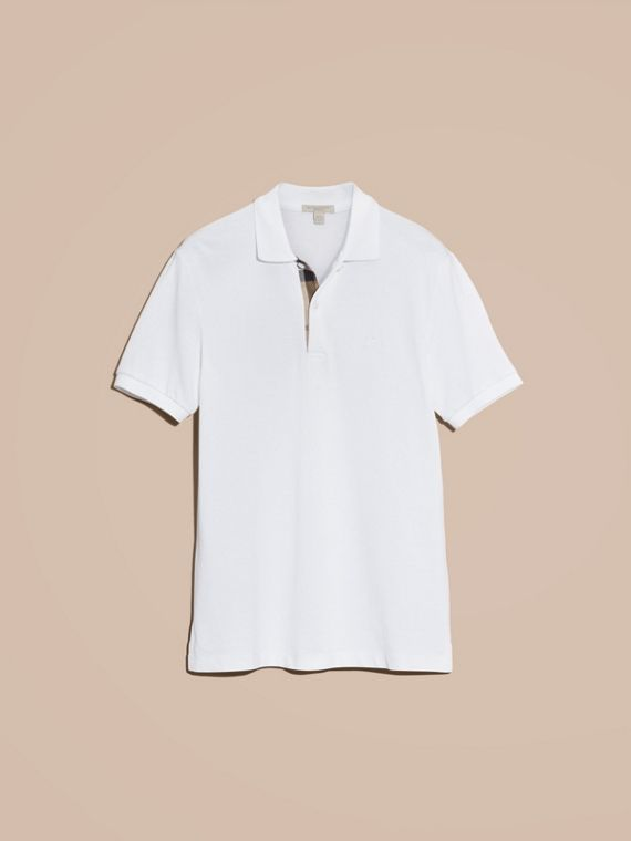 Check Placket Cotton Piqué Polo Shirt in White - cell image 3