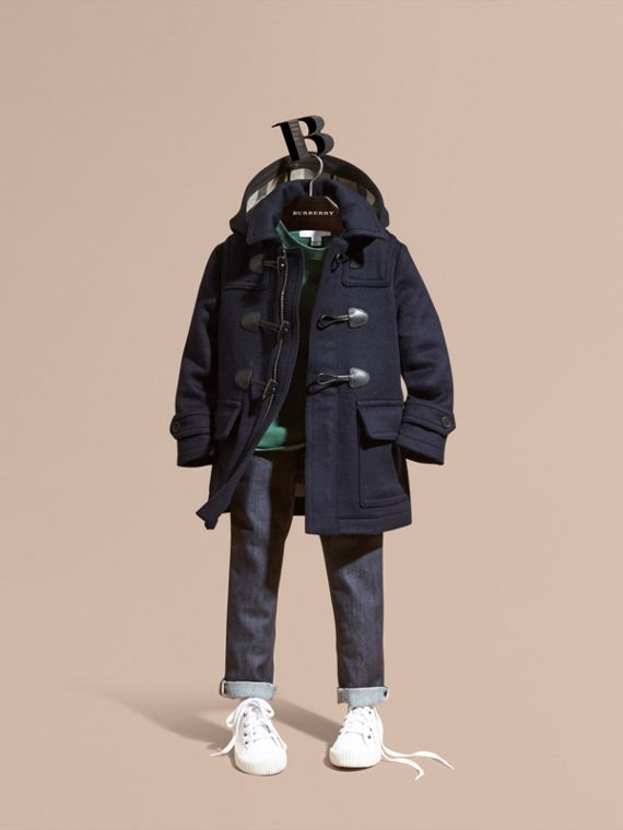 Wool Duffle Coat with Check-lined Hood Dark Indigo