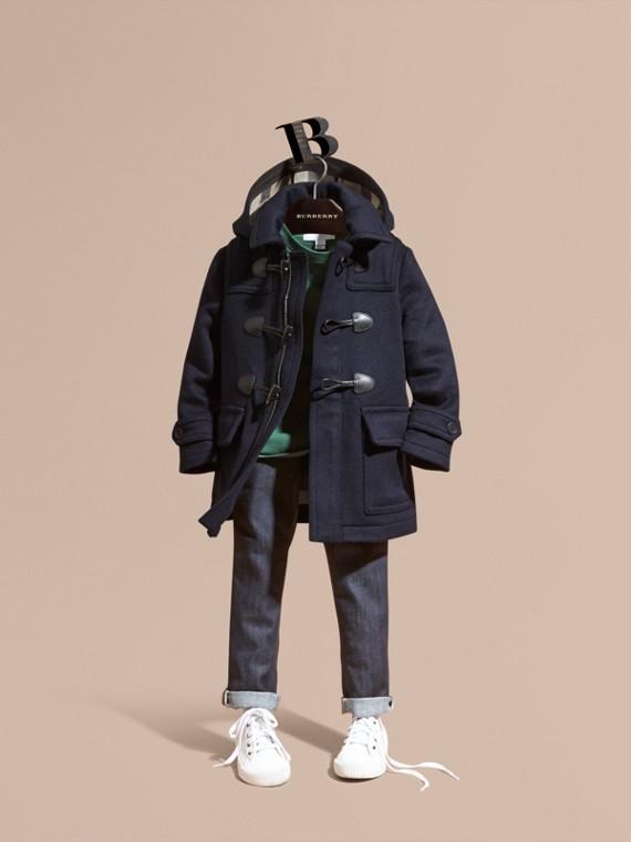 Duffle-coat en laine à capuche doublée du motif check Indigo Sombre
