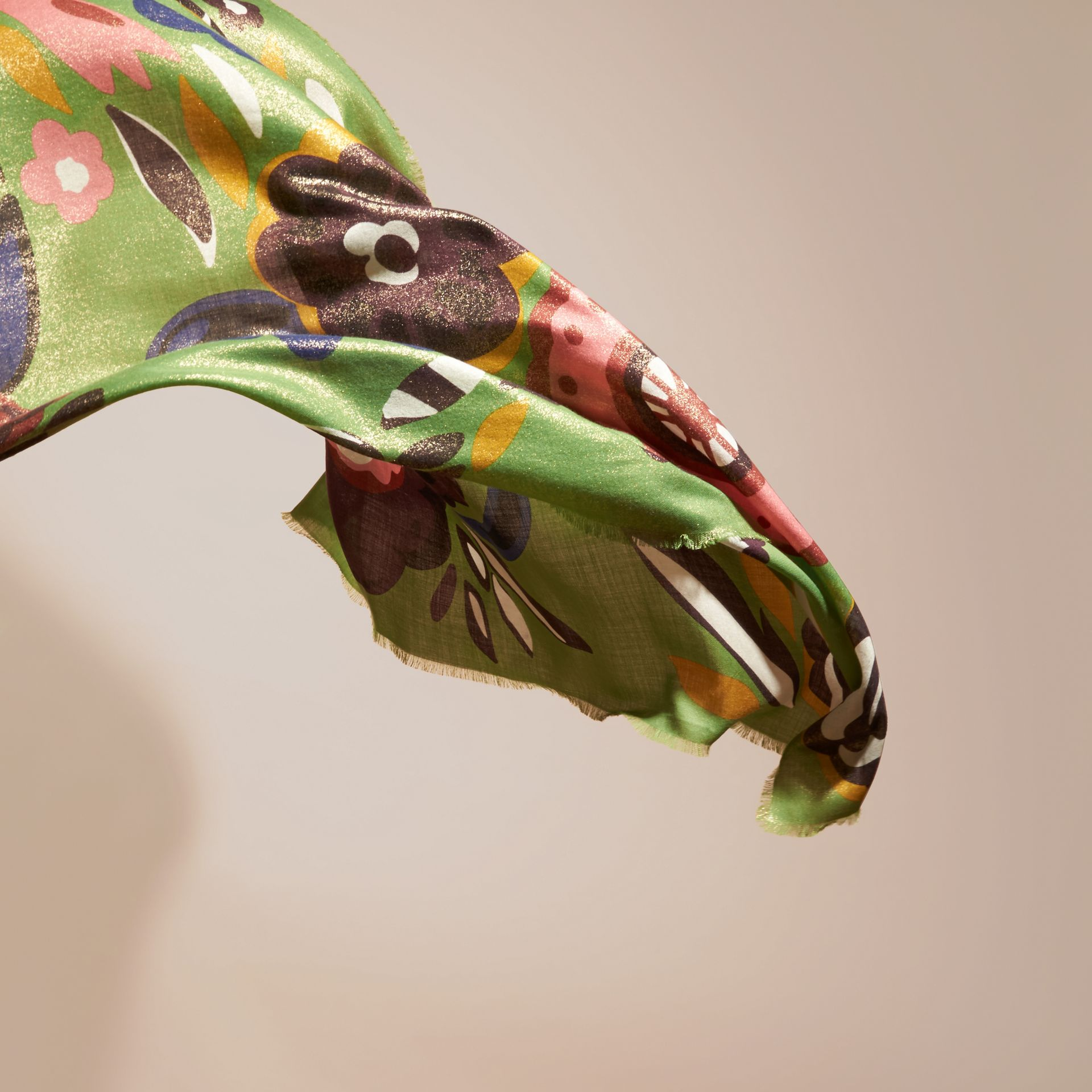 Green oxide Floral Metallic Cashmere Scarf Green Oxide - gallery image 4