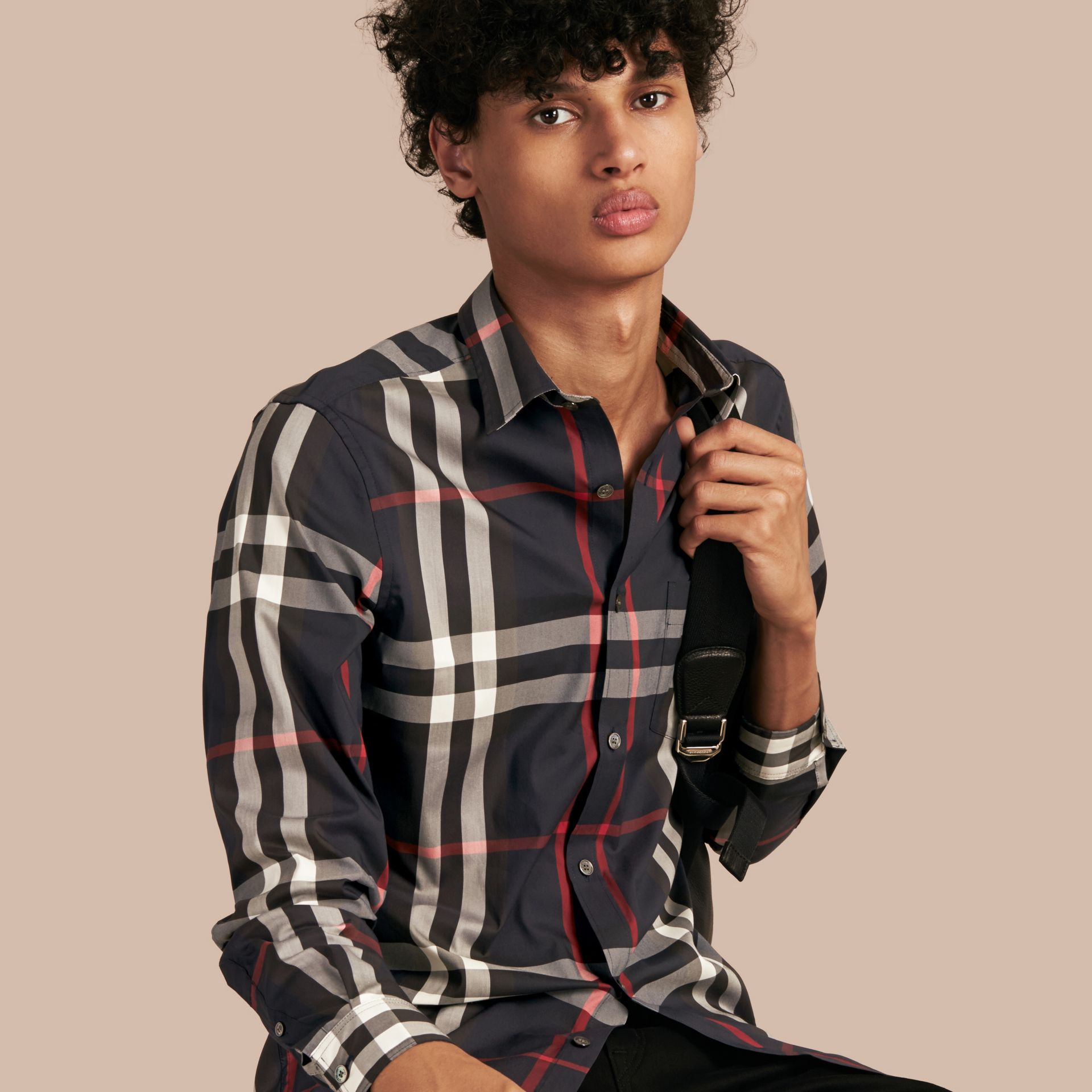 Navy Check Stretch Cotton Shirt Navy - gallery image 6