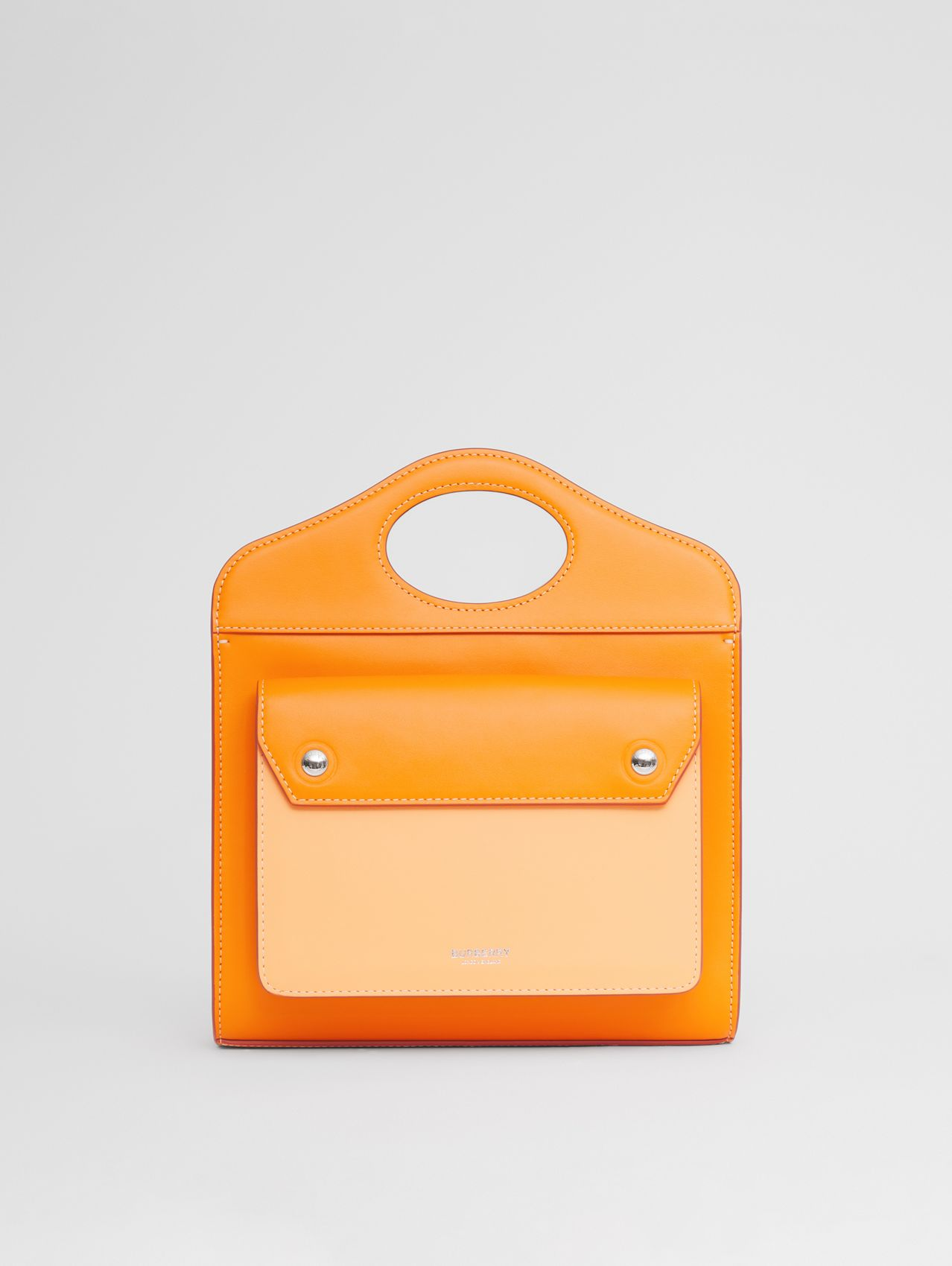 Mini Two-tone Leather Pocket Bag in Deep Orange/amber Orange