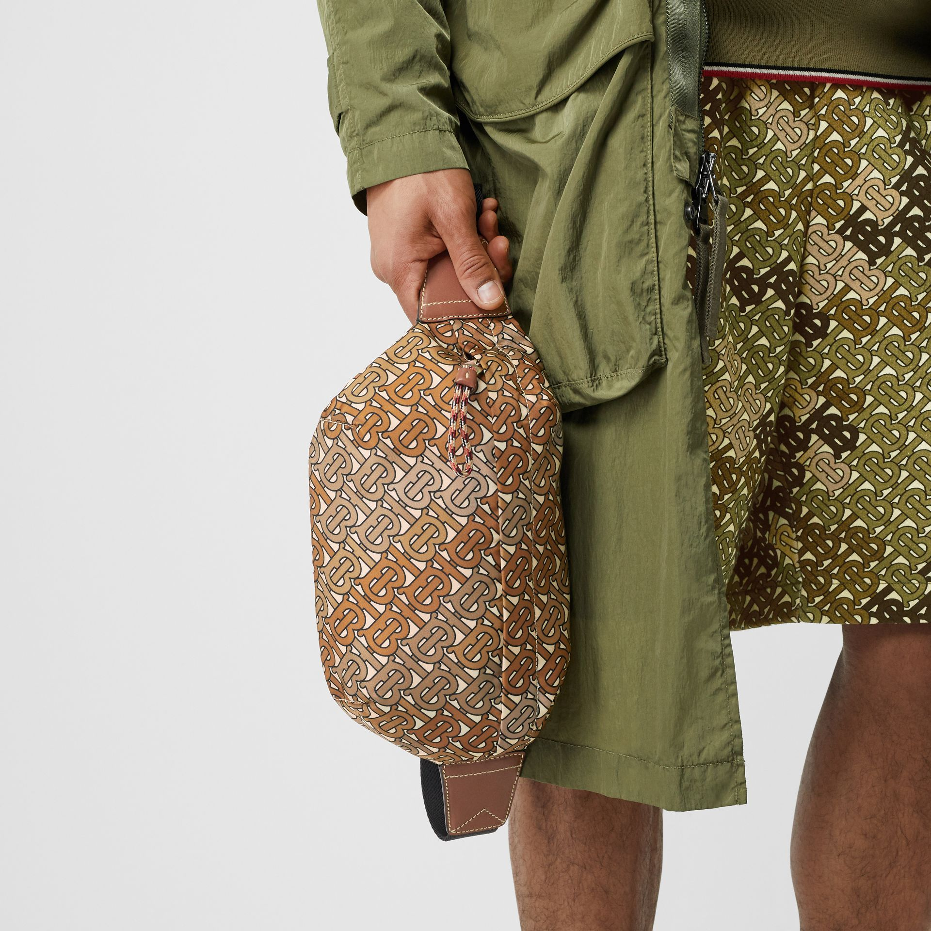 Medium Monogram Print Bum Bag in Camo Brown - Men | Burberry - gallery image 3