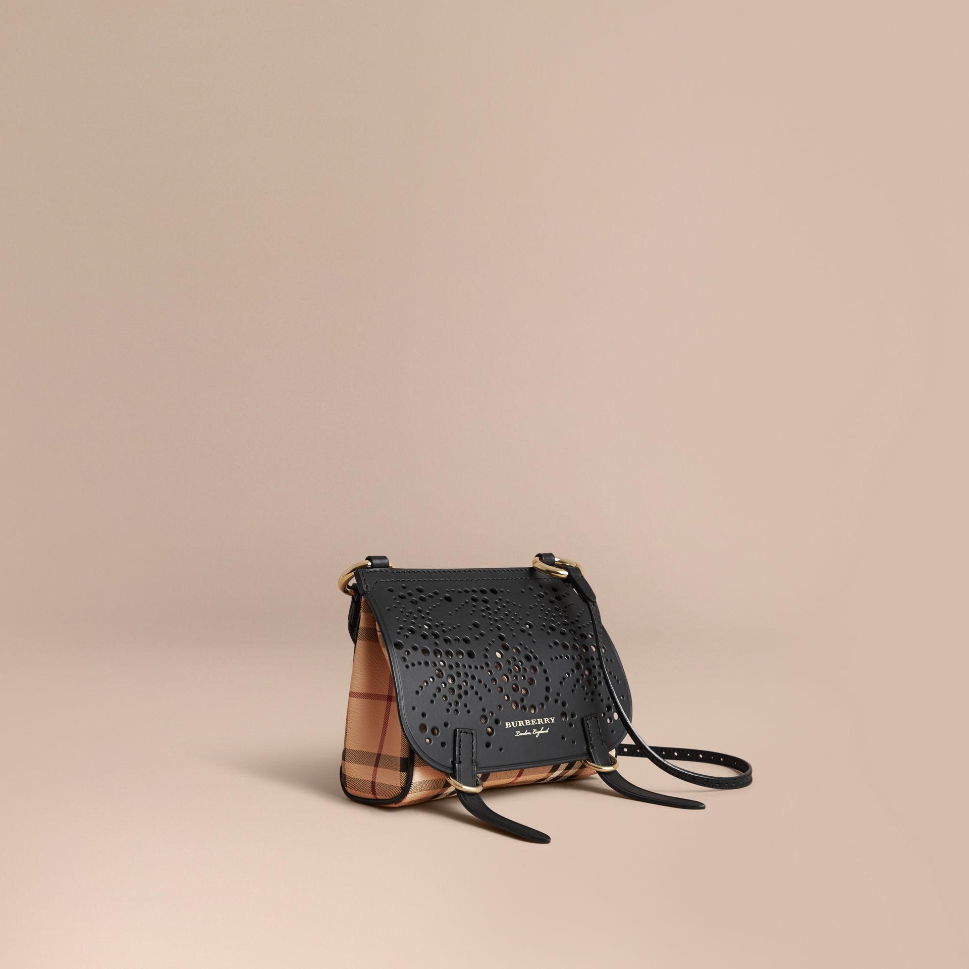 The Baby Bridle Bag in Leather and Haymarket Check Black - gallery image 1