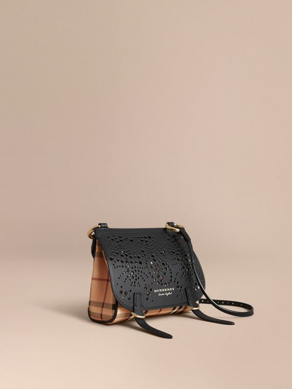 The Baby Bridle Bag in Leather and Haymarket Check Black
