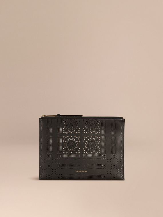 Extra-large Laser-cut Lace Leather Beauty Wallet