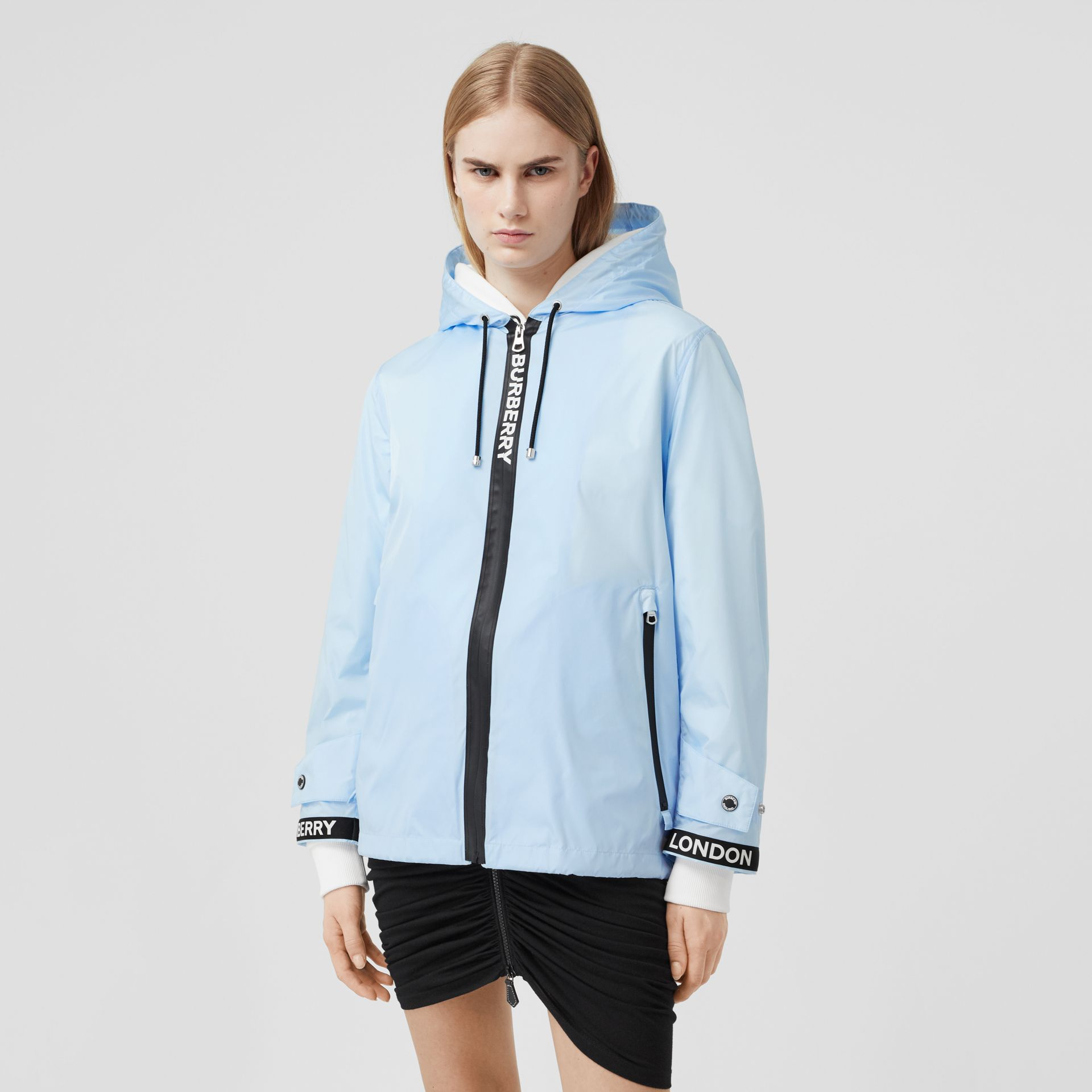 Logo Tape ECONYL® Hooded Jacket in Pale Blue - Women | Burberry Hong Kong S.A.R - gallery image 0