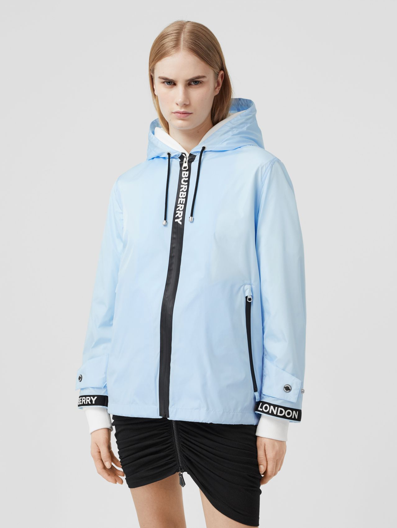 Logo Tape ECONYL® Hooded Jacket in Pale Blue