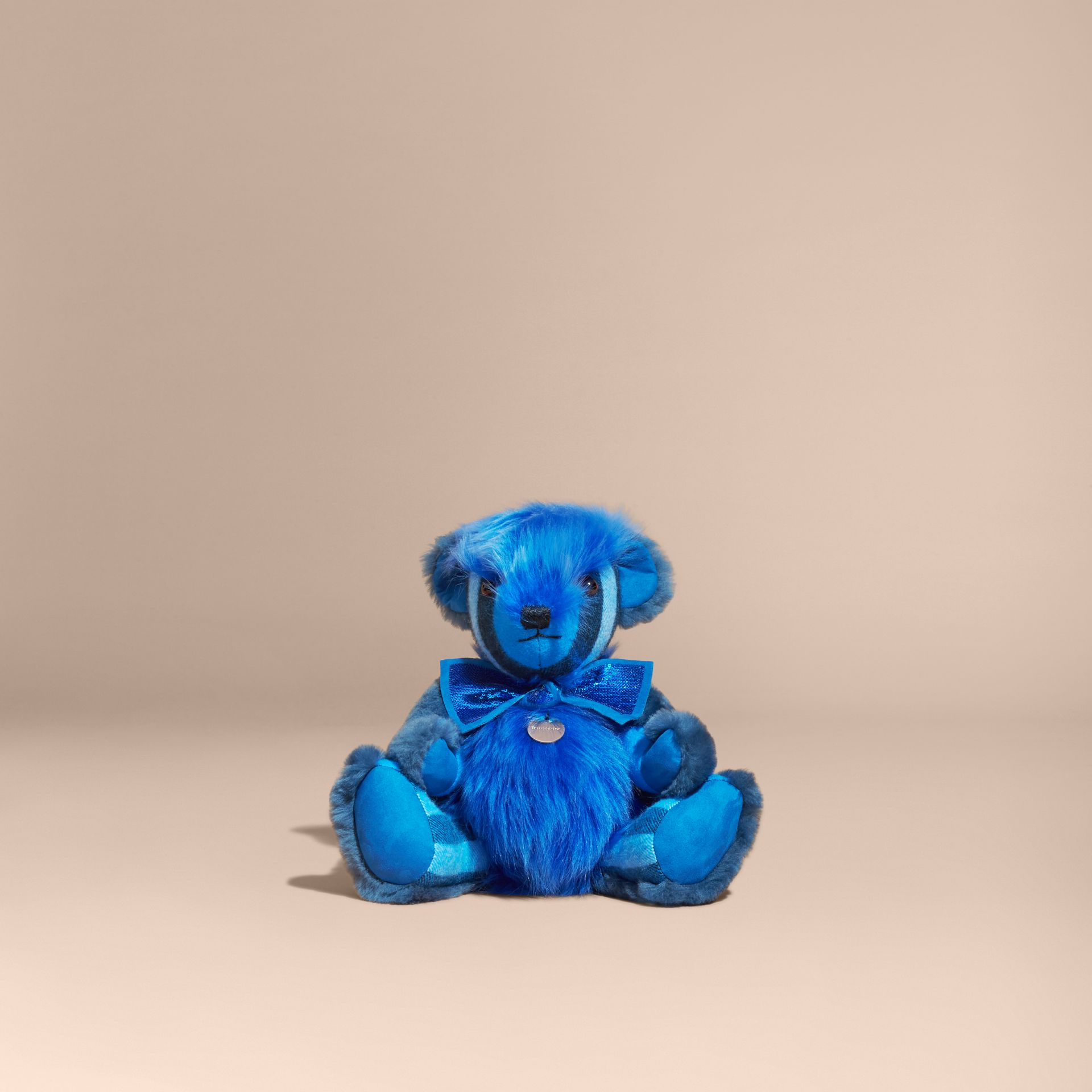 Bright cornflower blue Pom-Pom Thomas Bear in Shearling and Check Cashmere Bright Cornflower Blue - gallery image 4