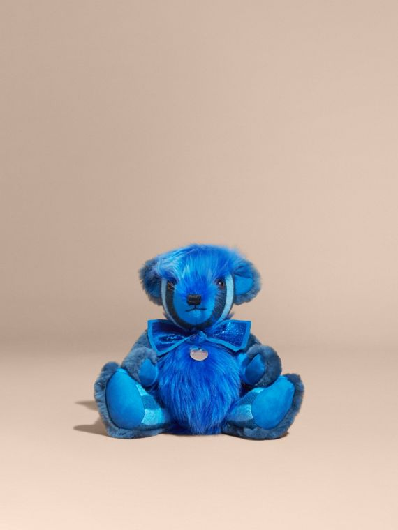 Bright cornflower blue Pom-Pom Thomas Bear in Shearling and Check Cashmere Bright Cornflower Blue - cell image 3