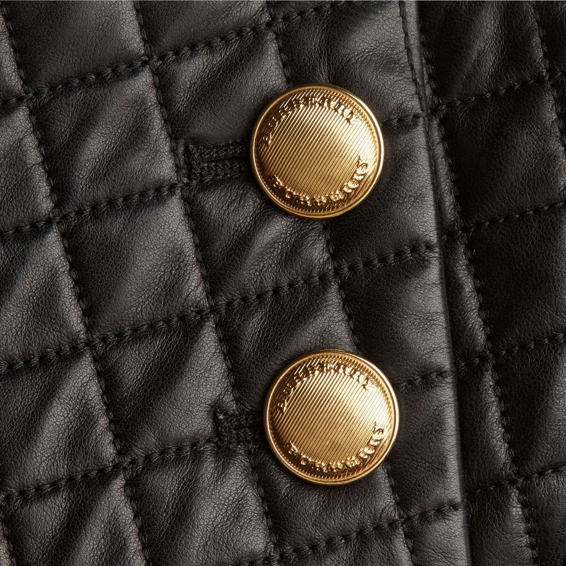 Black Quilted Lambskin A-Line Skirt - gallery image 2