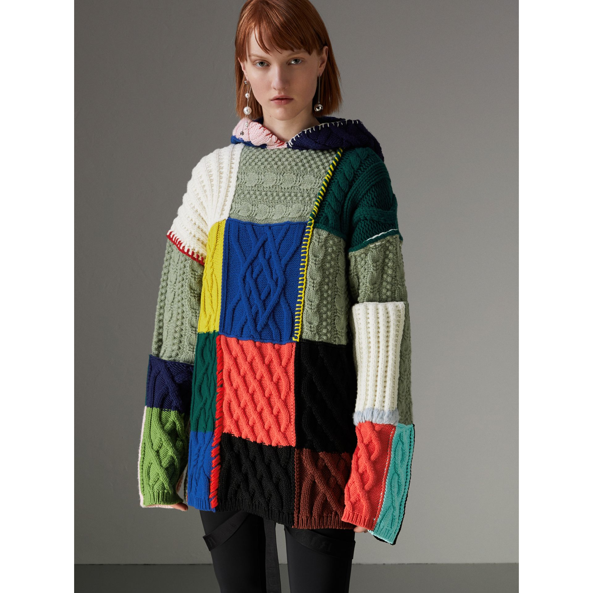 Wool and Cashmere Blend Patchwork Hoodie in Multicolour - Women | Burberry - gallery image 6