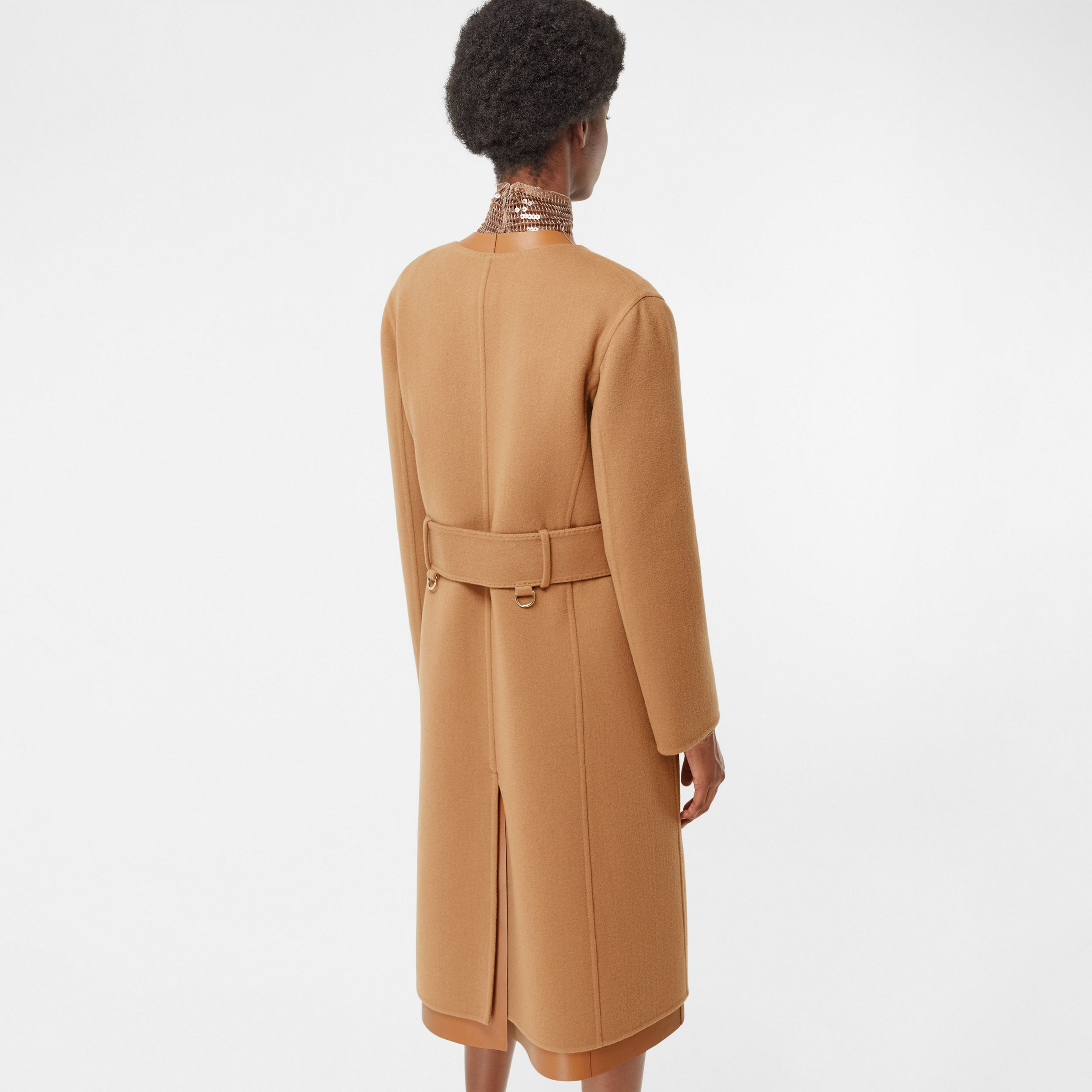 Double-faced Cashmere and Lambskin Wrap Coat in Camel - Women | Burberry - 3