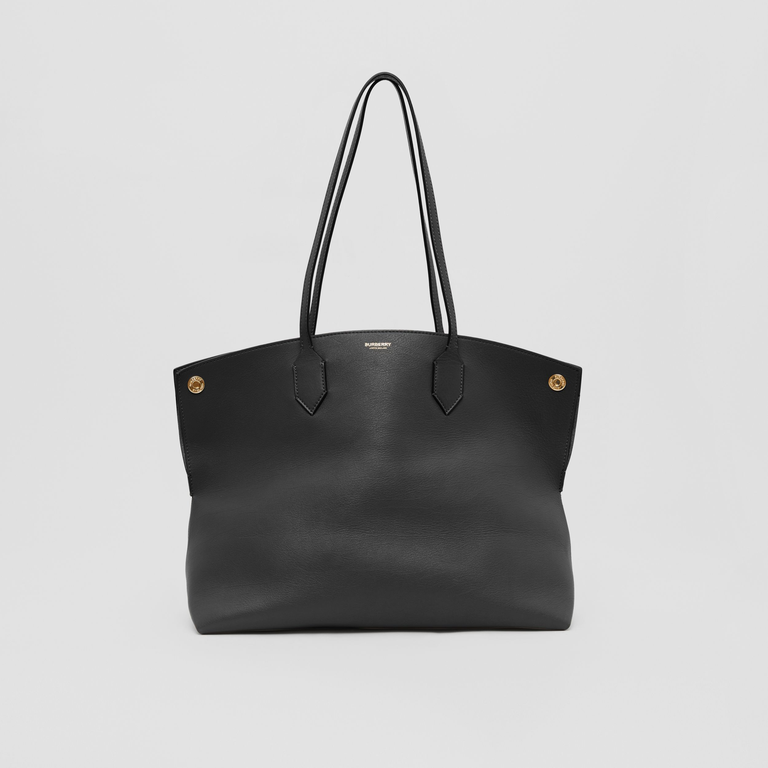 Medium Leather Society Tote in Black - Women | Burberry Canada - 1