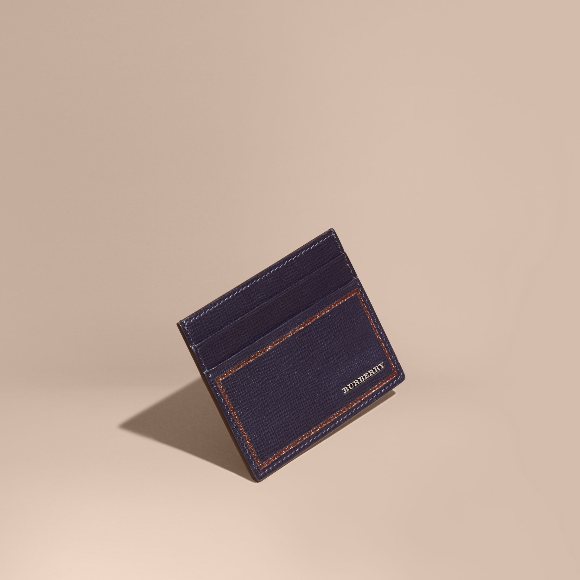 Border Detail London Leather Card Case in Dark Navy - gallery image 1