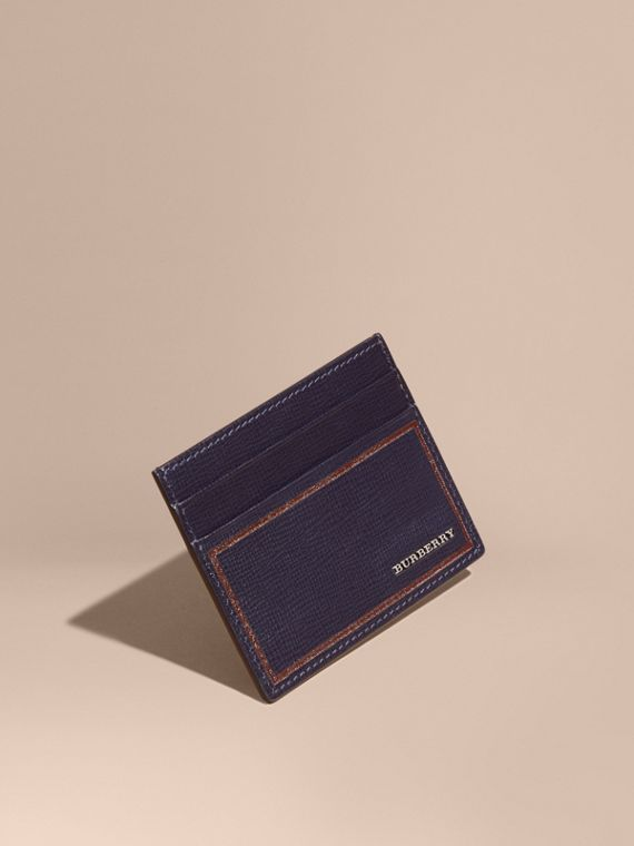Border Detail London Leather Card Case in Dark Navy
