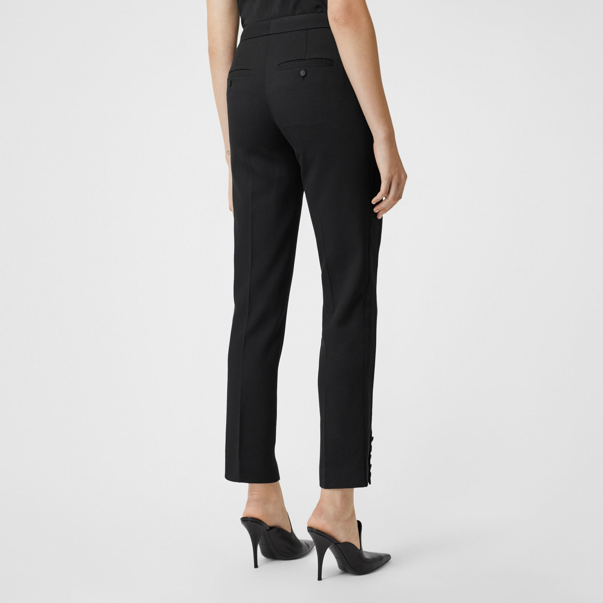 Satin Stripe Wool Tailored Trousers in Black - Women | Burberry United Kingdom - gallery image 2