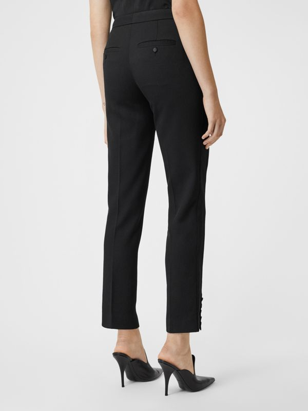 Satin Stripe Wool Tailored Trousers in Black - Women | Burberry United Kingdom - cell image 2