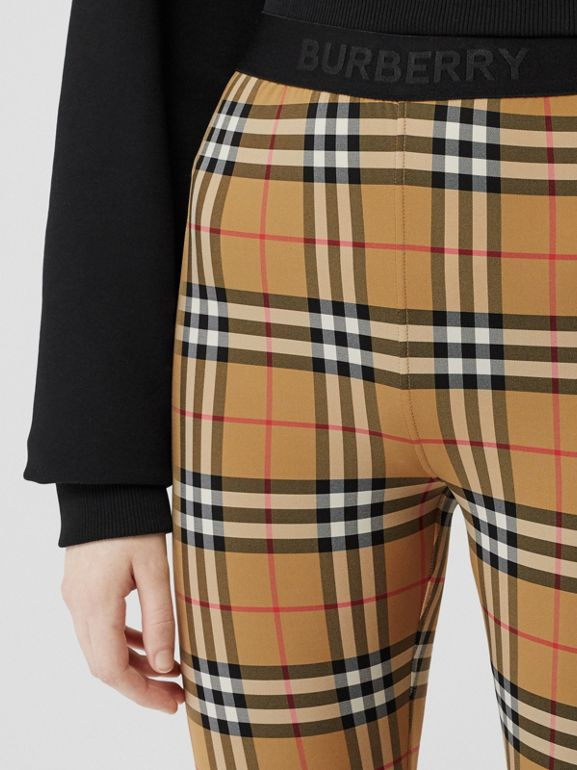 Logo Detail Vintage Check Leggings in Antique Yellow - Women | Burberry United Kingdom - cell image 1