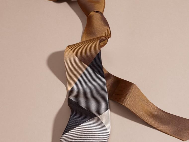 棕赭石色 現代剪裁格紋提花絲質領帶 棕赭石色 - cell image 2