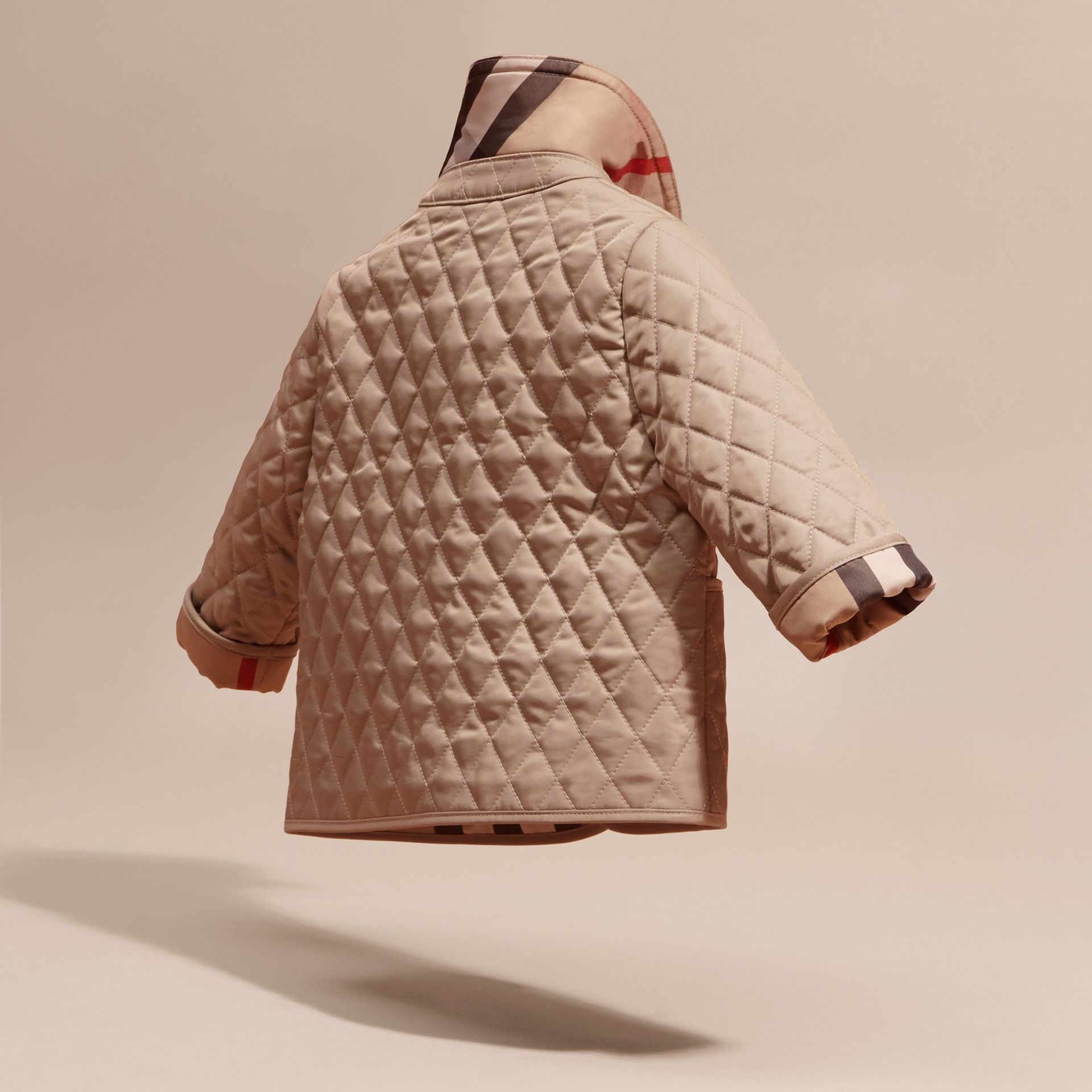 Check Detail Diamond Quilted Jacket in Mink | Burberry - gallery image 4