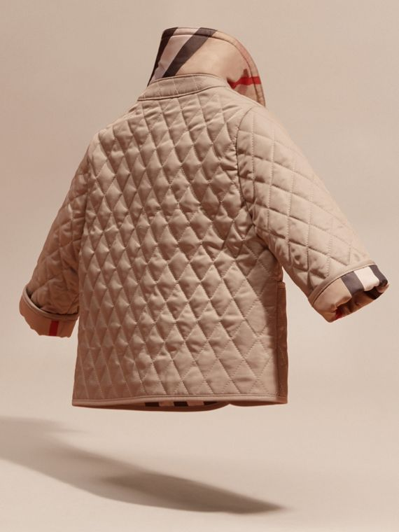 Check Detail Diamond Quilted Jacket in Mink | Burberry Canada - cell image 3