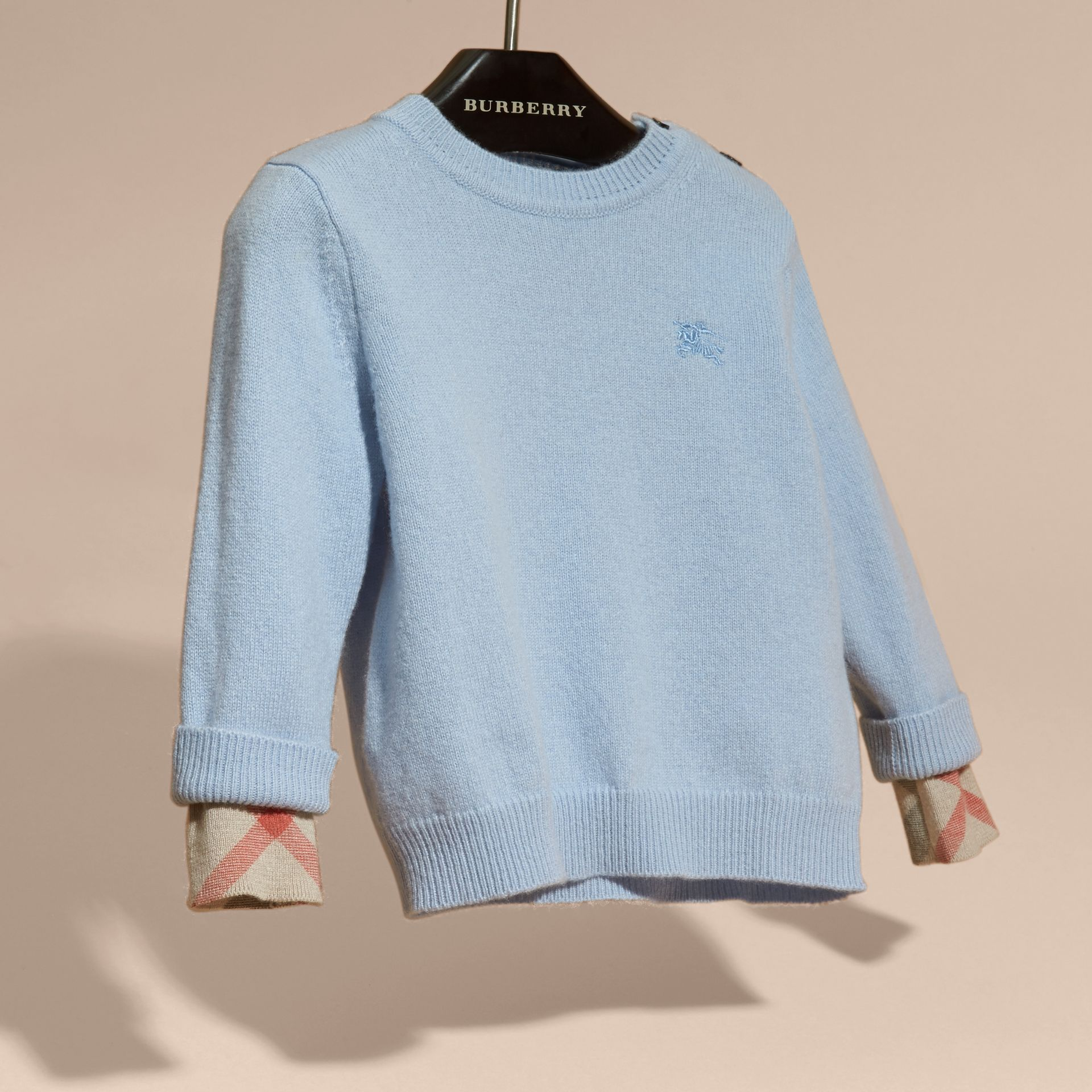 Check Detail Cashmere Sweater in Pale Cornflower Blue - gallery image 3