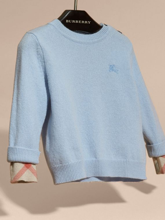 Check Detail Cashmere Sweater in Pale Cornflower Blue - cell image 2