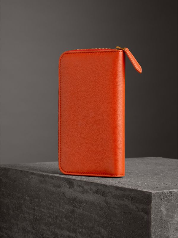 Embossed Leather Ziparound Wallet in Dark Clementine - Women | Burberry United Kingdom - cell image 2