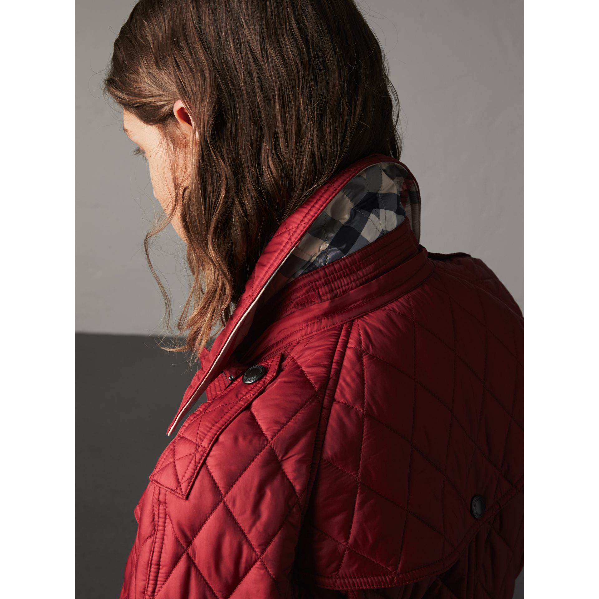 Quilted Trench Jacket with Detachable Hood in Dark Crimson - gallery image 5