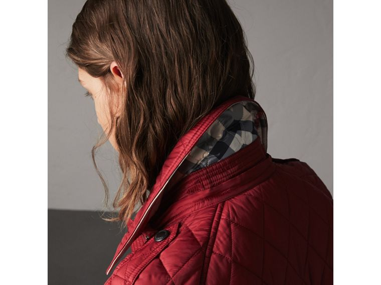 Quilted Trench Jacket with Detachable Hood in Dark Crimson - cell image 4