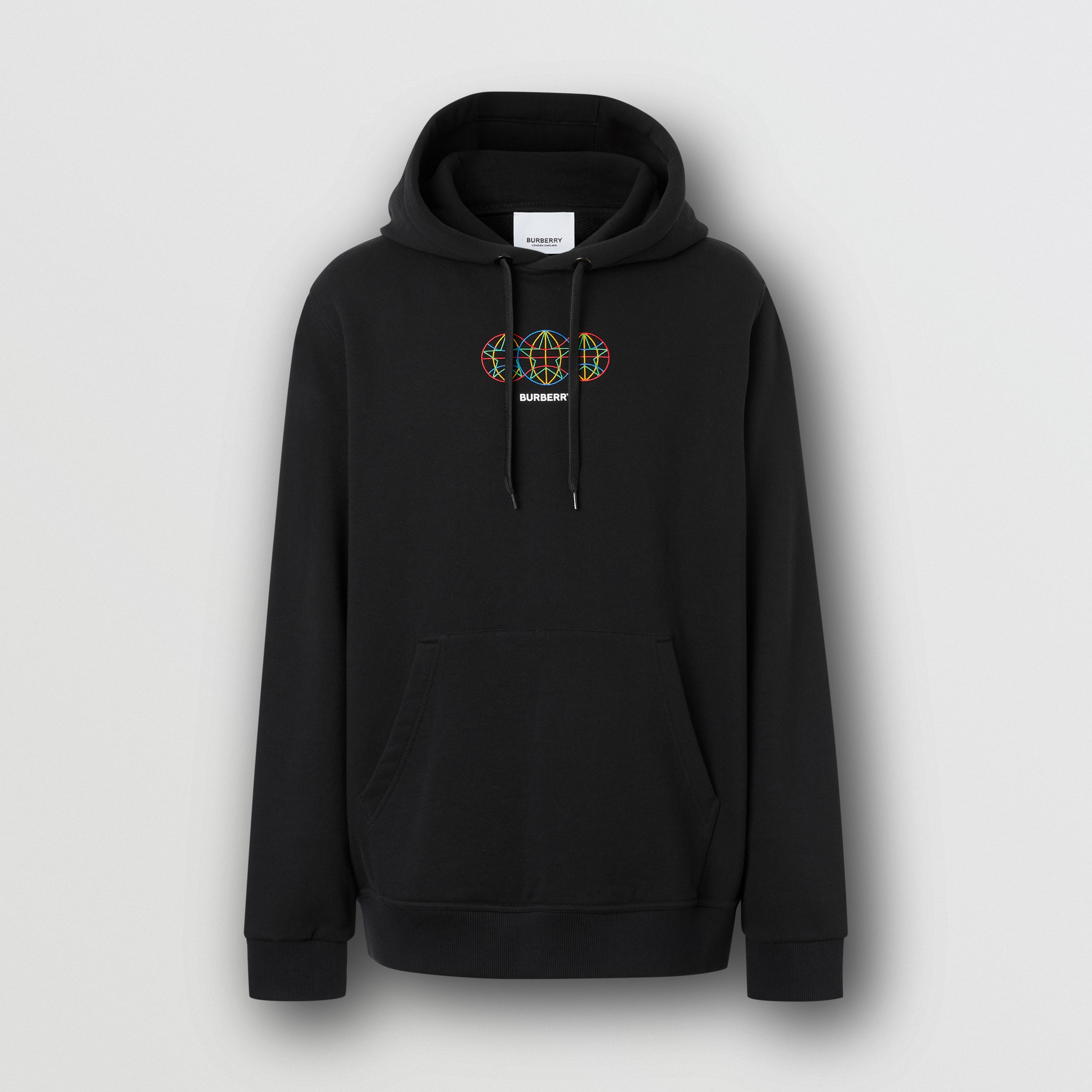 Embroidered Globe Graphic Cotton Hoodie in Black - Men | Burberry Australia - 4