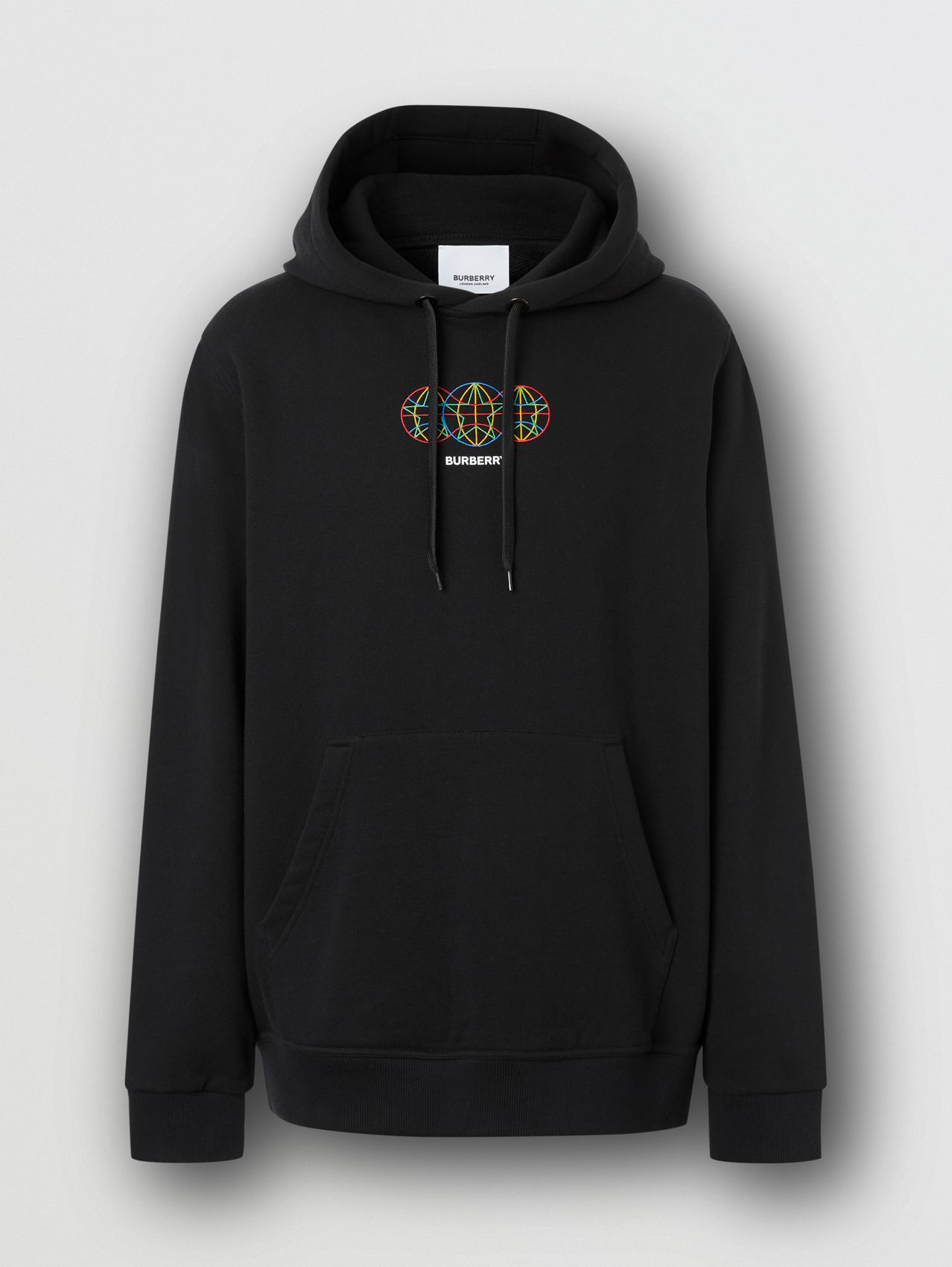 Embroidered Globe Graphic Cotton Hoodie in Black