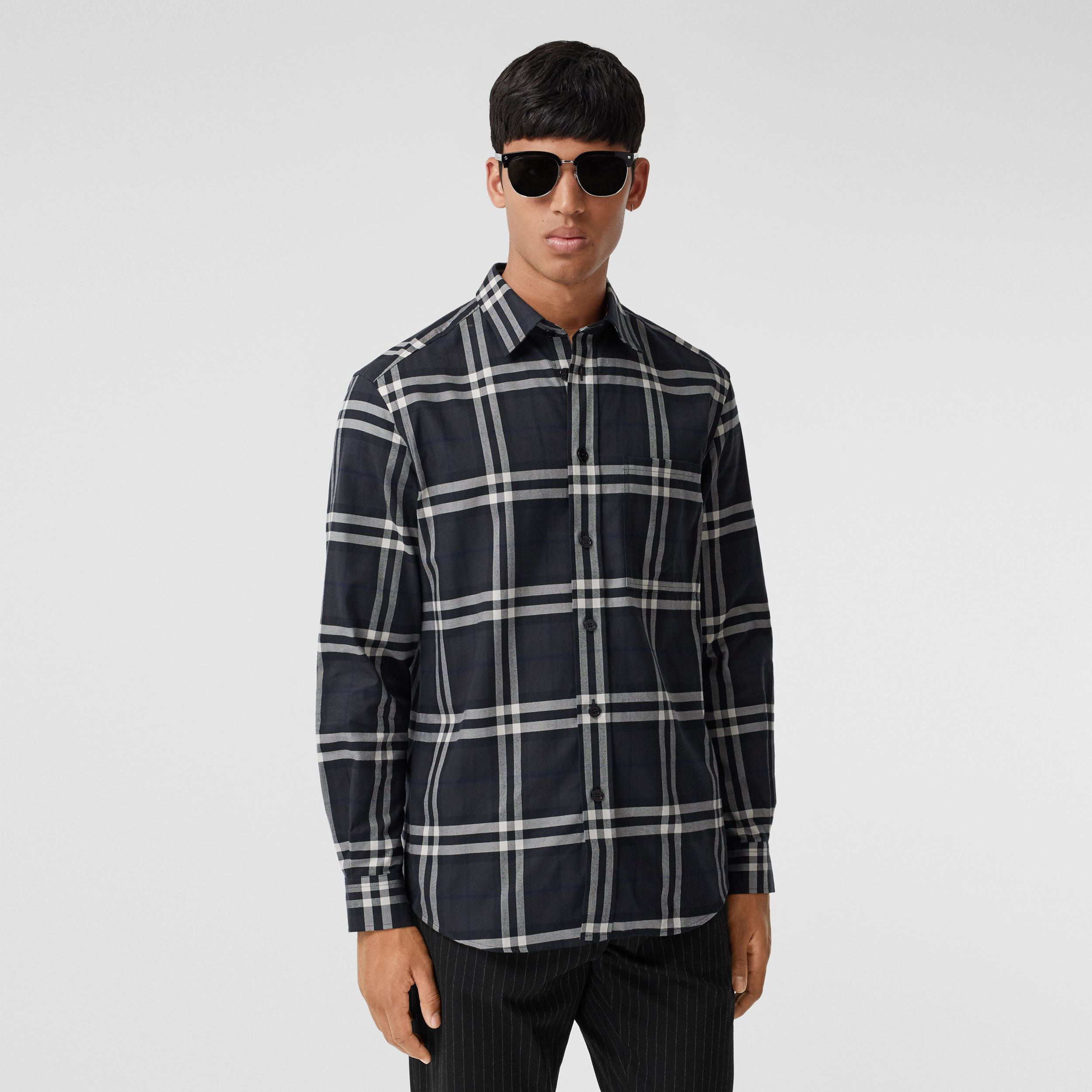 Vintage Check Cotton Flannel Shirt in Charcoal - Men | Burberry - 1