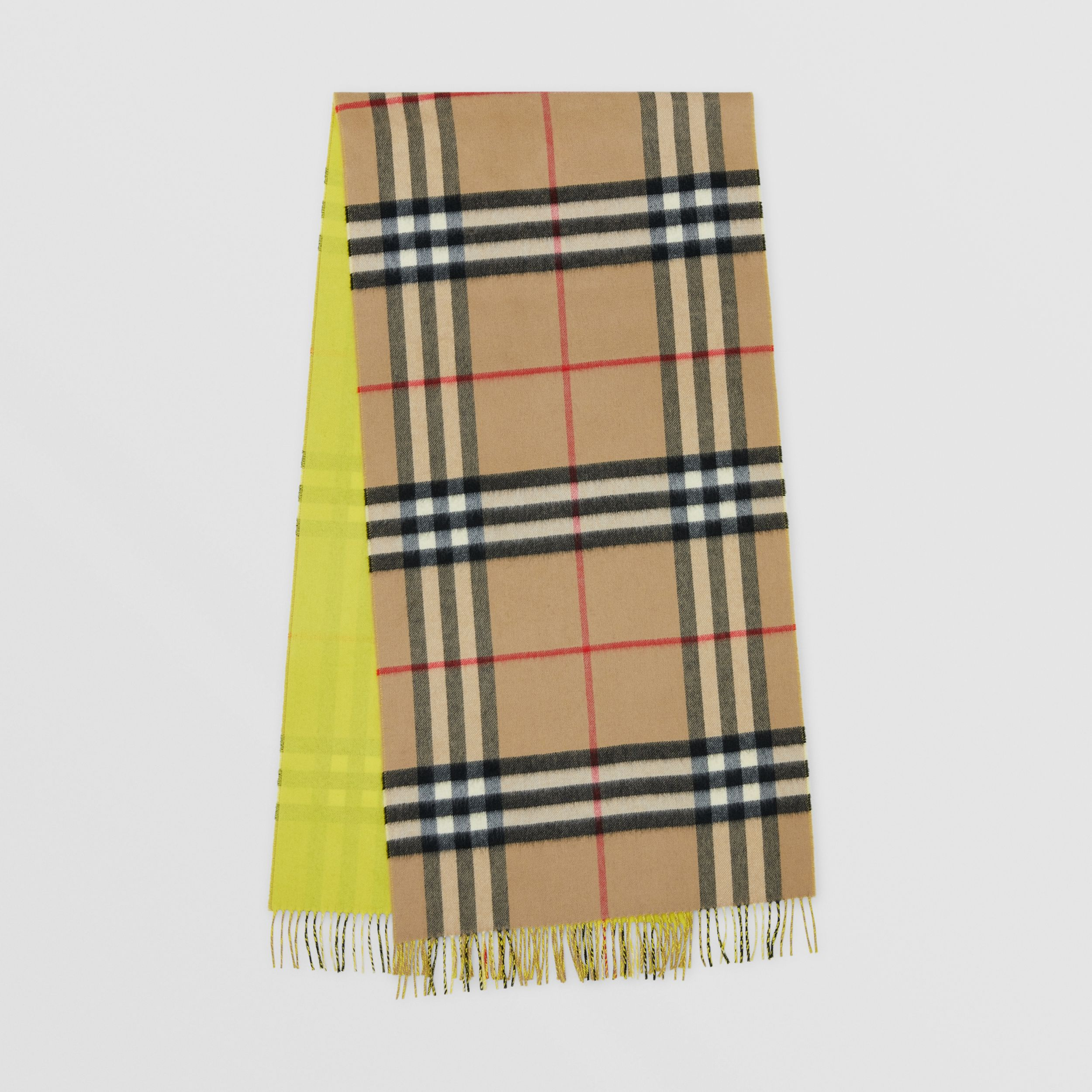 Reversible Check Cashmere Scarf in Yellow | Burberry United Kingdom - 1