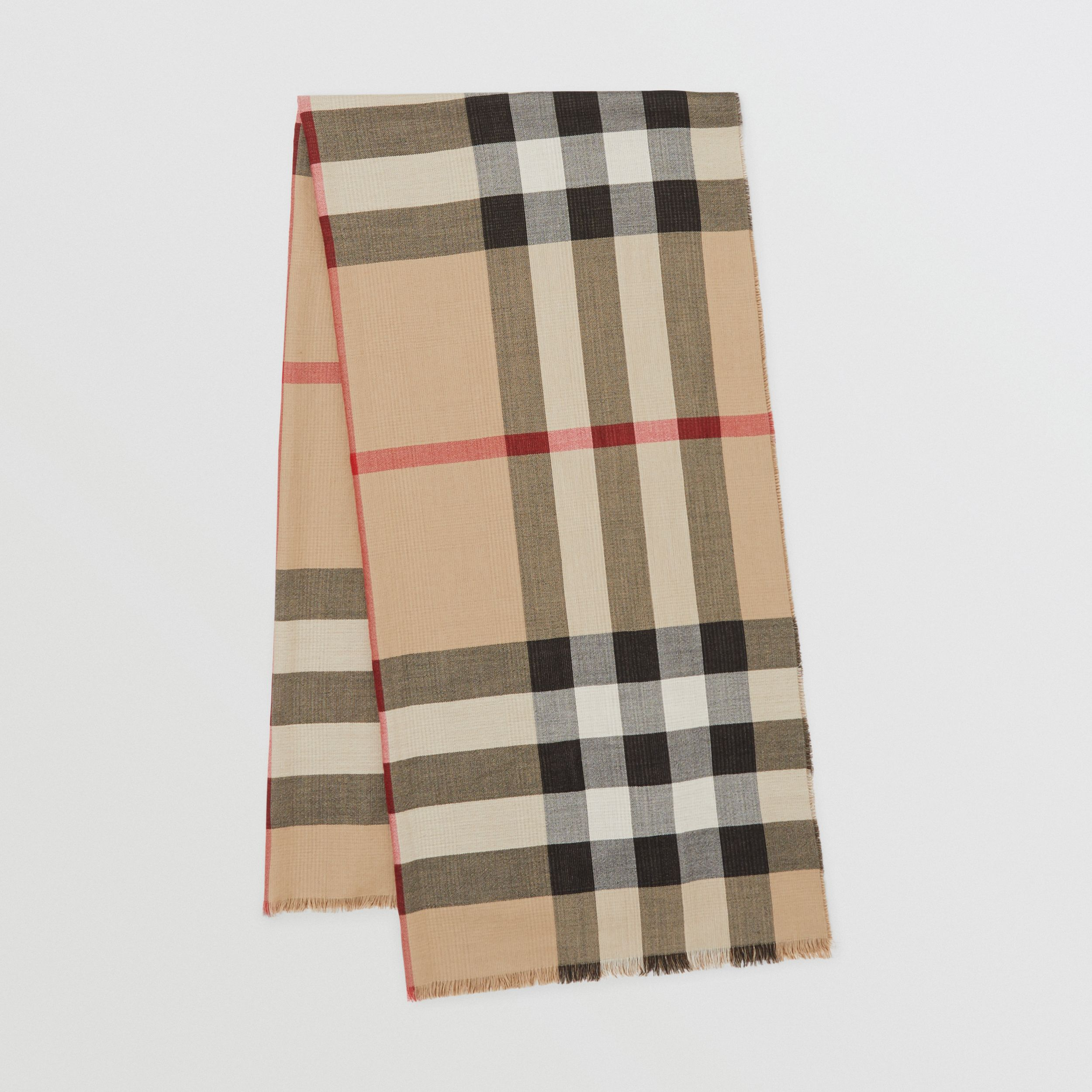 Reversible Check Cashmere Scarf in Archive Beige | Burberry - 1