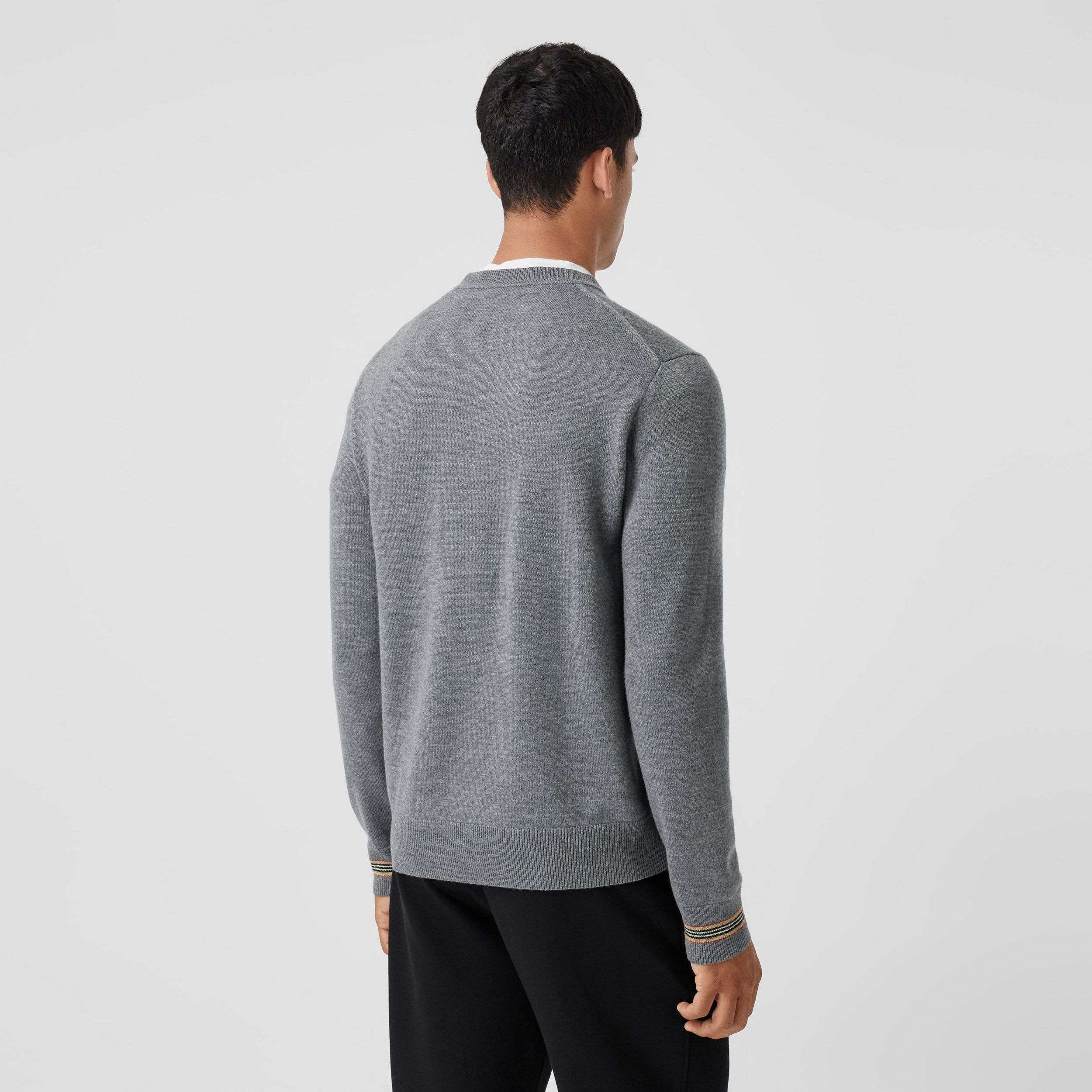 Icon Stripe Trim Merino Wool Sweater in Mid Grey Melange - Men | Burberry Canada - 3