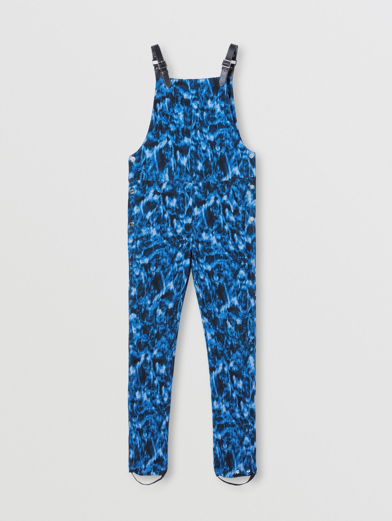 Ripple Print Jersey Bib-front Trousers in Ink Blue