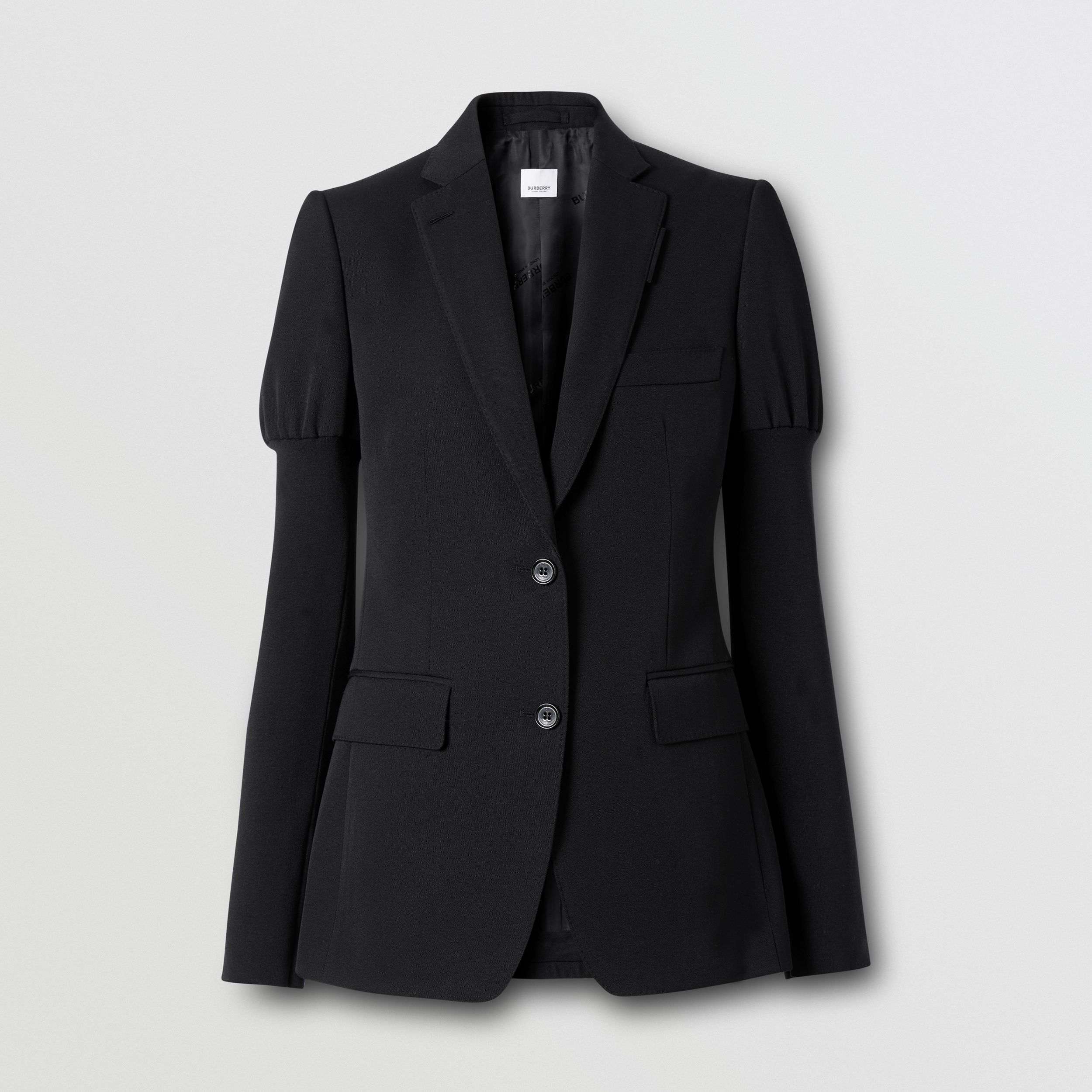 Panelled-sleeve Grain De Poudre Wool Blazer in Black - Women | Burberry - 4