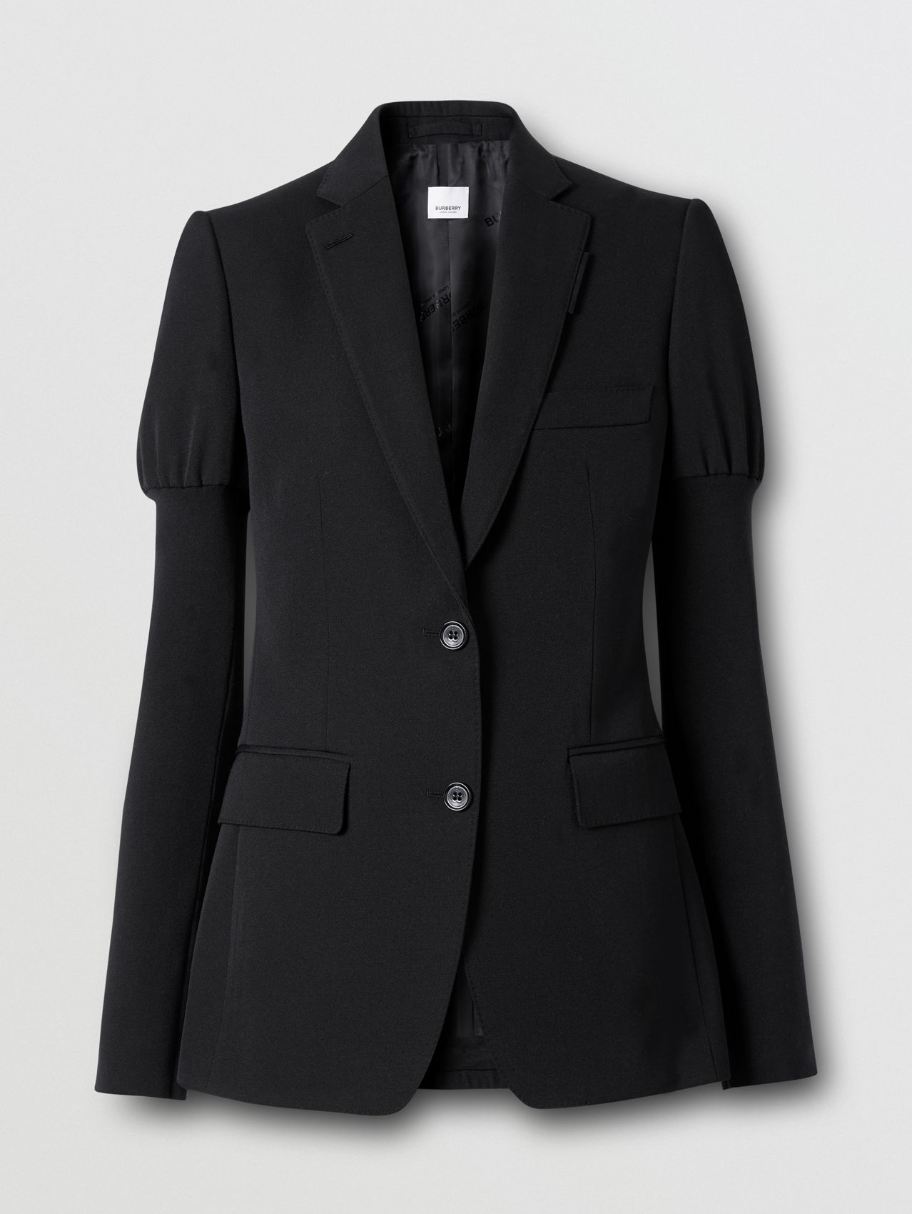Panelled-sleeve Grain De Poudre Wool Blazer in Black