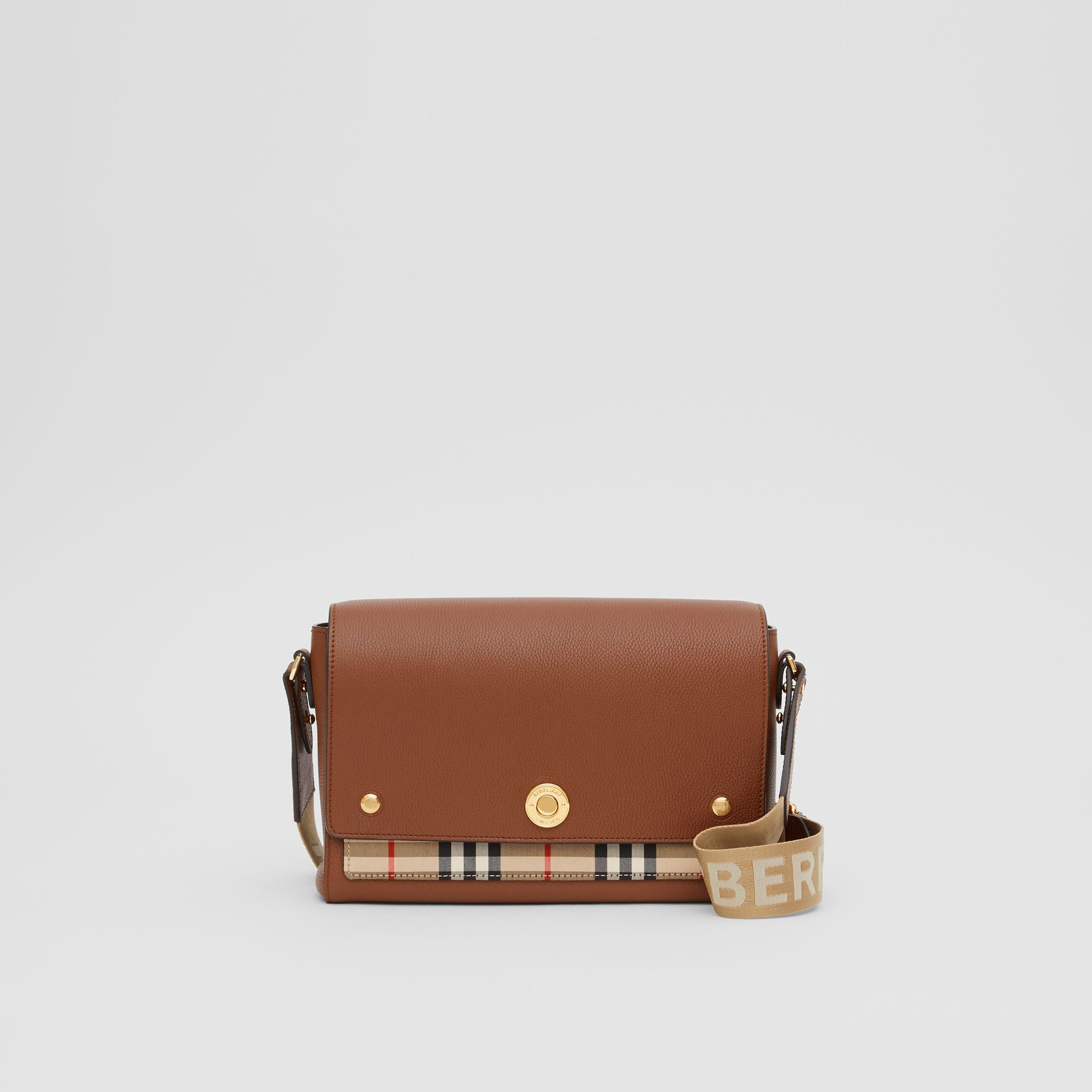 Leather and Vintage Check Note Crossbody Bag in Tan - Women | Burberry United States - gallery image 0