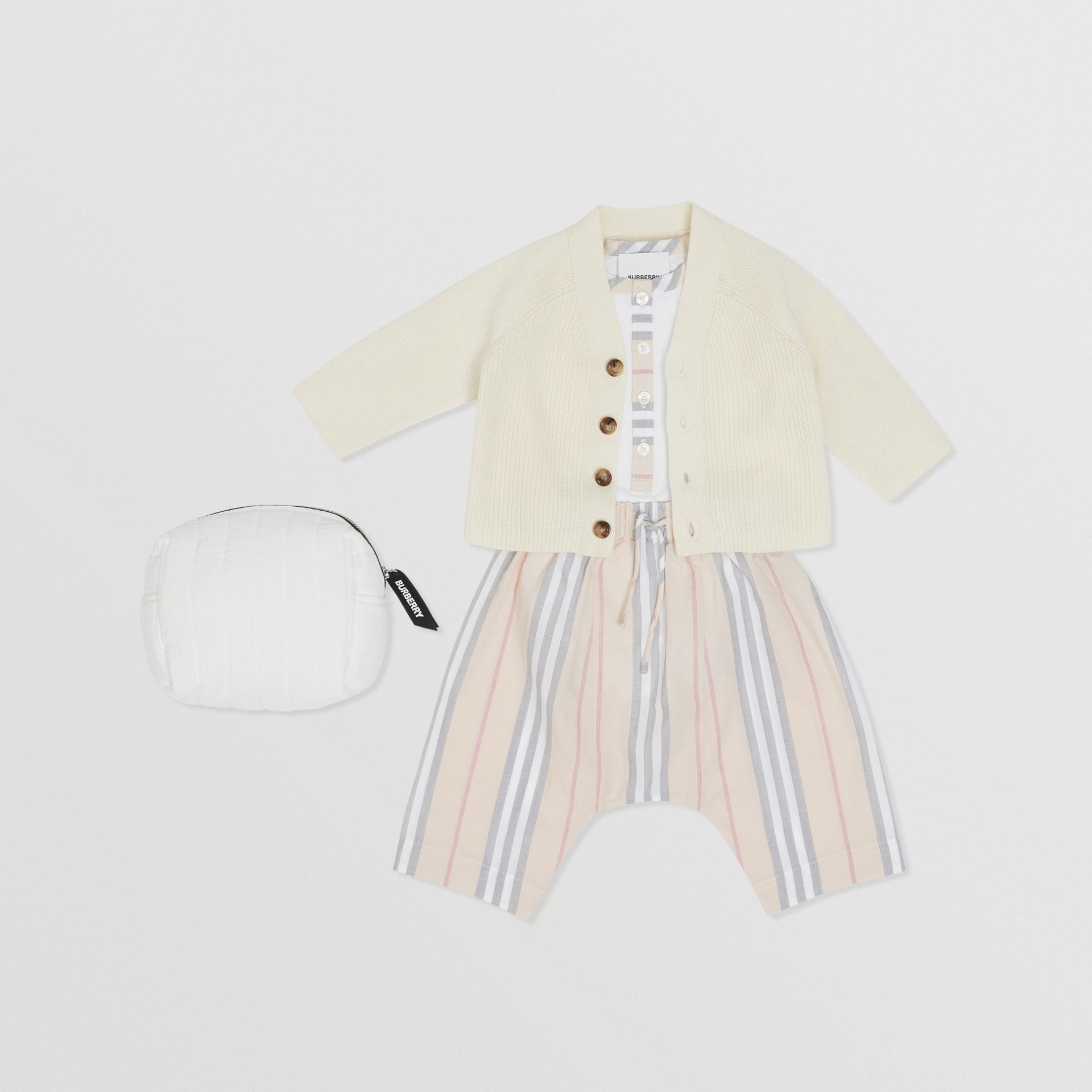 Icon Stripe Cotton Three-piece Baby Gift Set in Pale Stone - Children | Burberry United Kingdom - gallery image 0